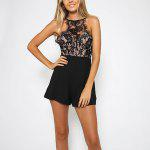 Buy BLACK Woman jumpsuit 2016 Summer New Sexy Style Womens Sleeveless Backless Lace Stitching Braces Bodice And Back Zipper Design Short Jumpsuit for $13.12 in GearBest store