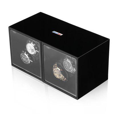 4+0 Watch Winder Wood Finish Carbon Fiber Box Automatic Rotation Storage Display Case