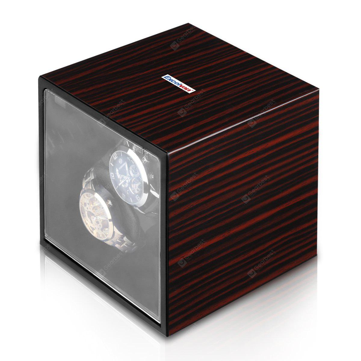 2+0 Double Watch Winder Carbon Fiber Box Automatic Rotation Storage Display Case