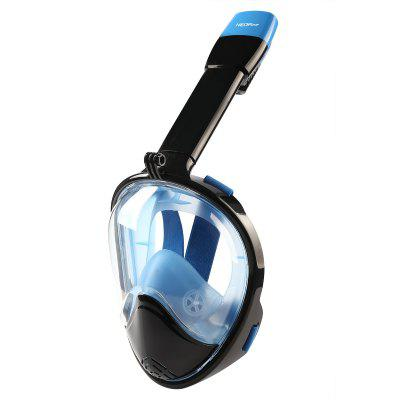 NEOpine Full Face Snorkeling Mask Scuba Water Sports Anti-fog Anti-Leak Panoramic Underwater Diving Swimming Snorkel Set Goggles With Breather Pipe Breath Swim For Gopro Camera