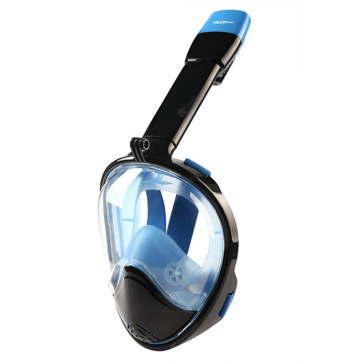 NEOpine Full Face Snorkeling Mask Water Sports Anti-fog Anti-Leak Panoramic Underwater Diving Swimming Snorkel Set Goggles With Breather Pipe Breath Swim For Gopro Camera