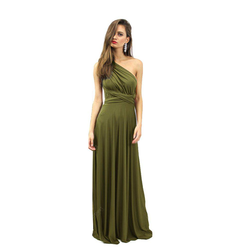 2016 new style casual fashion sexy multi-way corset woman long braces dinner dress ARMY GREEN