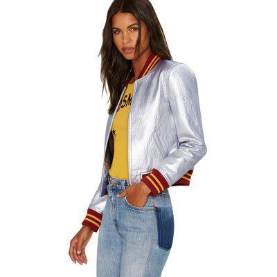 PU bomber jacket new fashion casual style sports jacket womens round collar and long sleeve design smooth shiny baseball jersey coat