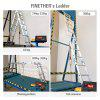 (FOLD LADDER) Finether 12.1 ft 3.68 m EN131 Scaffold Extendable Heavy Duty Multi-Purpose Folding Step Ladder Aluminum Folding Ladder with Safety Locking Hinges, Metal Panel, 4 Folds 16 Rungs, 330 lbs