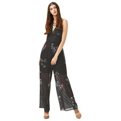 2016 new fashion floral printing sexy V-neck backless halter braces woman wide-leg chiffon jumpsuit