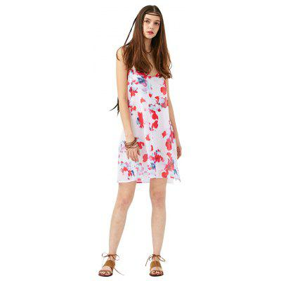 2016 new arrival sexy printing dress woman  V neck spaghetti strap chiffon dress