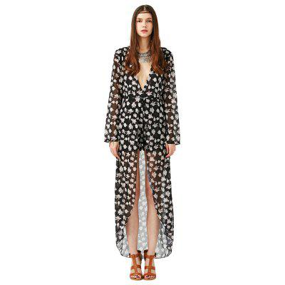 2016 new style romantic floral printing sexy deep-V-neck dress woman long sleeve chiffon jumpsuit
