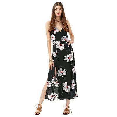 2016 fashion sexy deep-V-neck floral printing chiffon woman slit braces dress