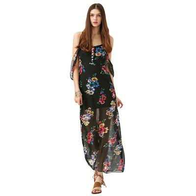 2016 new fashion floral printing sexy V-neck backless off sholuder woman braces dress