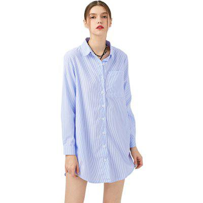 New Summer Women Shirts Three  Pockets Turn-down Collar Full Sleeves Casual Tops Women Boy Style Simple Blouse