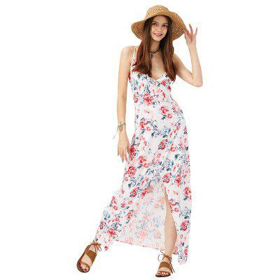 2016 new arrival sexy printing dress woman V neck and split design spaghetti strap maxi dress