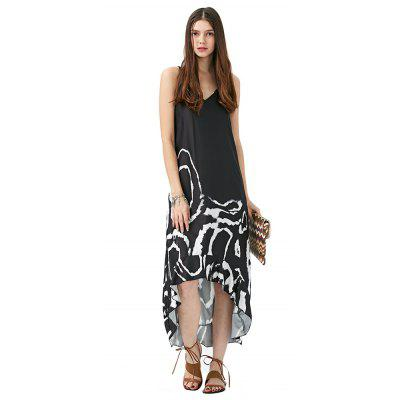 2016 new arrival ethnic style maxi dress woman round neck irregular hem design geometric patterns printing spaghetti strap dress