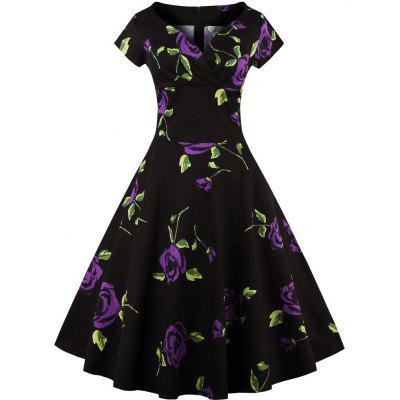 2016 new fashion retro rose printed dress woman  sleeveless big hem elegant dress