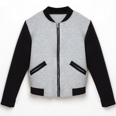 2016 autumn winter round neck zipper woman bump-color pocket baseball coat