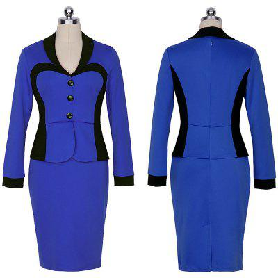 Buy BLUE L Kenancy Womens Spring Autumn Longsleeve Turn Down Collar Women\'s Elegant Lapel Colorblock Optical Illusion Patchwork Faux Twinset Wear to Work Office Sheath Bodycon Dress for $19.76 in GearBest store