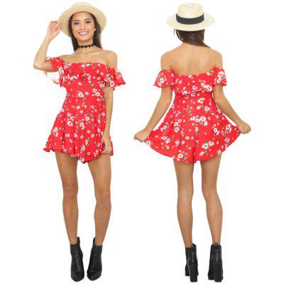 """Buy RED \""""Zaful Woman Jumpsuit Spring And Summer Floral Printing Sexy Style Off-the-shoulder And Ruffles Design Mini Jumpsuit for $16.61 in GearBest store"""