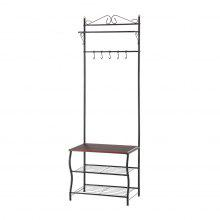 (ENTRYWAY STORAGE BLACK) LANGRIA Entryway Metal Storage Shoe Bench with Coat Rack, 3 Tiers and 5 Free Hooks,77.2 - 83.8 lbs Capacity, 23.6 x 14.2 x 68.9 Inches, Black