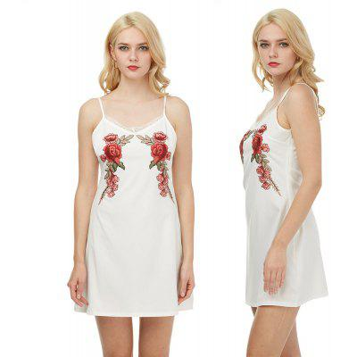 Woman Cami Dress Spring And Summer Floral Embroidery Sexy Style V-Neckline And Sleeveless Design A-line Mini Dress