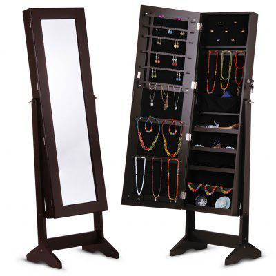 (JEWEL CAB 6003 B) LANGRIA Free Standing Lockable Mirrored Jewelry Armoire with Stand, 4 Angle Adjustable Cabinet Organizer Storage for Rings, Earrings, Bracelets, Broaches, Accessories and Cosmetics,