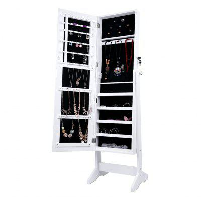 (JEWEL CAB 6003 W) LANGRIA Free Standing Lockable Mirrored Jewelry Armoire with Stand, 4 Angle Adjustable Cabinet Organizer Storage for Rings, Earrings, Bracelets, Broaches, Accessories and Cosmetics,Makeup Brushes &amp; Tools<br>(JEWEL CAB 6003 W) LANGRIA Free Standing Lockable Mirrored Jewelry Armoire with Stand, 4 Angle Adjustable Cabinet Organizer Storage for Rings, Earrings, Bracelets, Broaches, Accessories and Cosmetics,<br>
