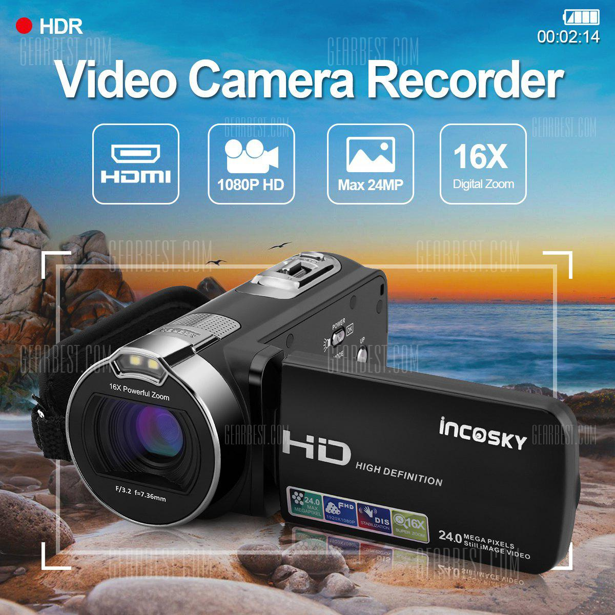 Incosky 1080P FULL HD Portable Digital Video Camera 2.7 TFT LCD 24MP 16x Zoom Camcorder DV AV Output Night Light Black AU