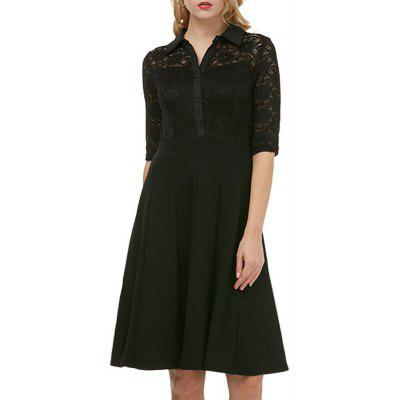 d17c6b8845478 Kenancy Womens Elegant Lace Patchwork Dress 3 4 Sleeve Turn-Down Collar  A-Line Bodycon Slim Midi Dress Embroidered Work Office Party Dress