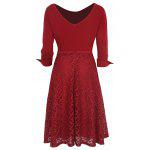 Buy Kenancy Womens Elegant Lace Skirt Patchwork Round Neck 3/4 Sleeve Work Office Party A-Line Dress Stretch Slim Fit 2XL RED