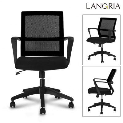 (IT MCB064 BLACK) Finether Mid-Back Swivel Mesh Task Office Chair with Knee-Tilt, 120 Kg Capacity, Black