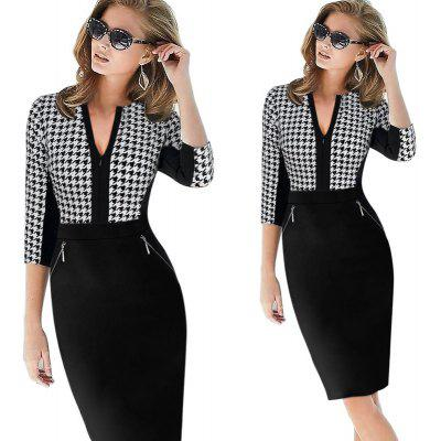 Buy BLACK S Kenancy Elegant Patchwork Half Sleeve Stretch Dress Tunic Business Casual Office Work Dress Slim Bodycon Sheath Pencil Dresses for $17.29 in GearBest store