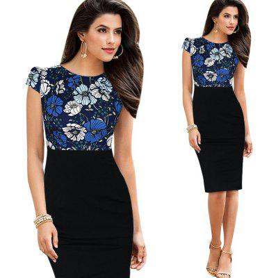 Kenancy Womens Elegant Patchwork Cap Sleeve    Ruched High Waist O-Neck Knee Casual Work Party Sheath Bodycon Pencil Office Dress