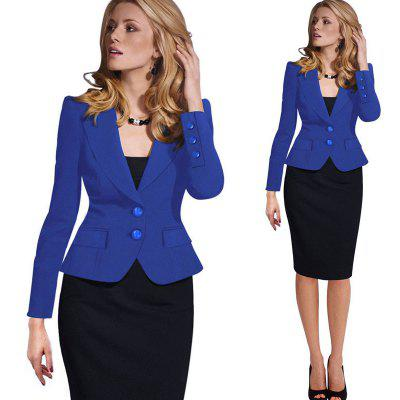 Kenancy Womens Spring Autumn Long Sleeve Turn Down Collar Button  Pocket Wear to Work Office Business Casul Slim Blazer Plus Size 4XL