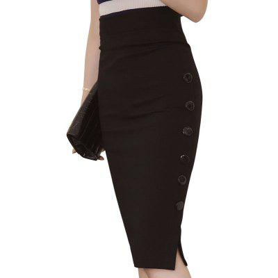 Kenancy Plus Size New Fashion 2016 Women Skirt Midi Skirt OL Sexy Open Slit Button Slim Pencil Skirt Elegant Ladies Skirts 2 Colors