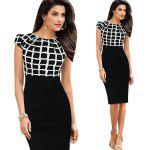 Kenancy Womens Elegant Patchwork Cap Sleeve    Ruched High Waist O-Neck Knee Casual Work Party Sheath Bodycon Pencil Office Dress - CHECKED