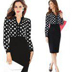 Kenancy Womens Spring Autumn  Polka Dot Elegant formal Patchwork Long Sleeve Dress Office Charming Women Ruched Bodycon Shift Pencil Dress
