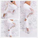 Fashion sexy jeans Lace stitching Slim pants woman jeans - WHITE