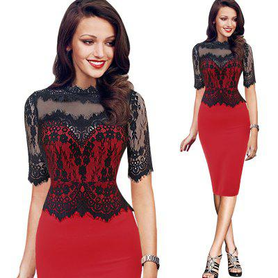 Kenancy Womens Elegant Vintage Retro Floral Lace Peplum See Through Mesh Patchwork Party Club Bodycon Fitted Dress