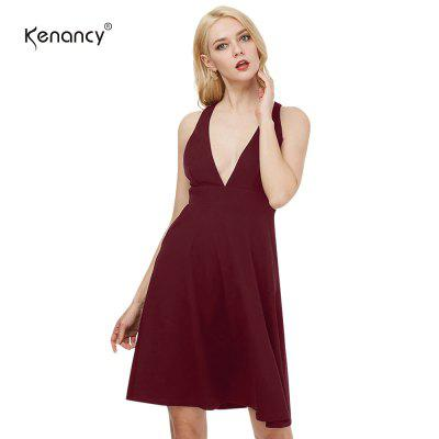 Kenancy Sexy Big Swing Dress Female Deep V-neck Backless Sexy Party Dress Casual Formal Dress