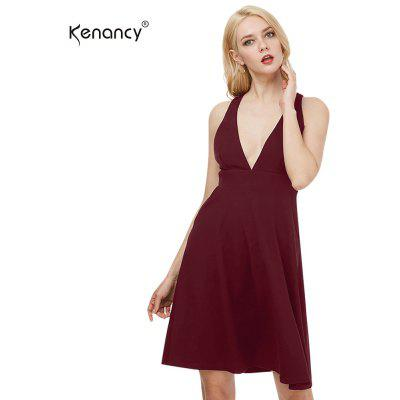 Kenancy Sexy Big Swing Vestido Femenino Deep V-cuello Backless Sexy Party Dress Vestido Formal Casual