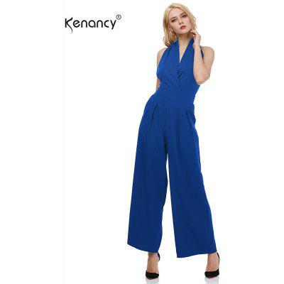 Buy SAPPHIRE BLUE XL Kenancy Sexy Elegant Wide Leg Jumpsuit Female Fashion Sleeveless Backless Sexy V-neck Style Casual Work Party Wear Rompers for $17.64 in GearBest store