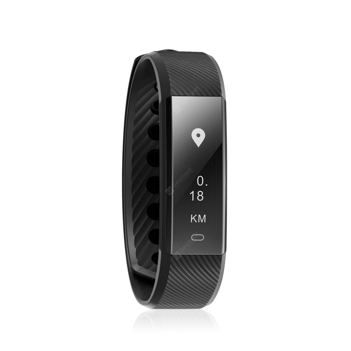 Diggro ID115HR Heart Rate Bracelet Bluetooth 4.0 Pedometer Calorie Sleep Monitor Call/SMS Reminder Sedentary Reminder for Android IOS - BLACK