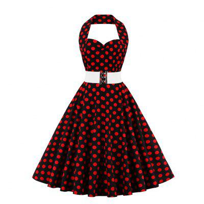 Buy BLACK Woman dress 2016 new vintage polka dot print dress womens sexy sweetheart neckline sleeveless backless and ruffles design retro fit&flare halter dress with belt for $20.31 in GearBest store
