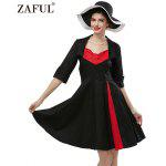 Woman dress 2016 new Hepburn style vintage dress womens stand collar square-cut neck 3/4 Sleeve rufffles and contrast color stitching design retro fit&flare dress - BLACK