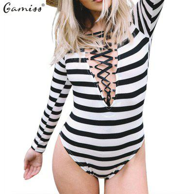 2016 Spring stripe teddies woman deep V-neck with strap in the chest design sexy long sleeve teddies