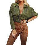 Buy 2016 fashion sexy deep-V neck frock woman shirt turn-down collar tie blouse ARMY GREEN