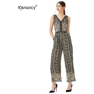 Kenancy Fashion Printing Jumpsuit Sexy V-neck Midriff Elasticity Waist Loose Broad Leg Romper Jumpsuit Plus Size