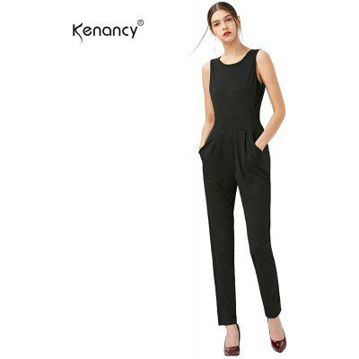 Kenancy Sexy Casual Jumpsuit Solid Color Sleeveless Backless Women Romper Slim Jumpsuit