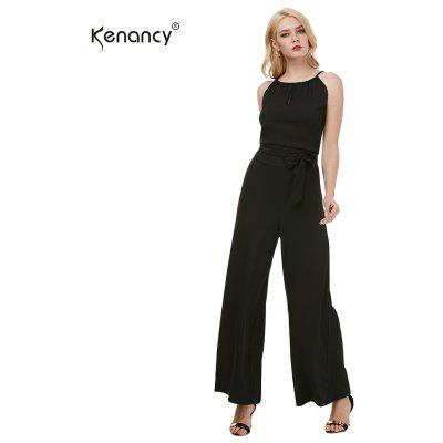 Kenancy Sexy Wide Leg Jumpsuit Female Fashion Hollow Suspender Trousers Street Style Casual Work Wear Rompers With Belt