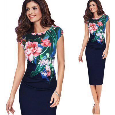 Elegant Vintage Dress Women Fashion Floral Flower Printed Retro Ruched Pinup Casual Party Sheath Special Occasion Bodycon Dress