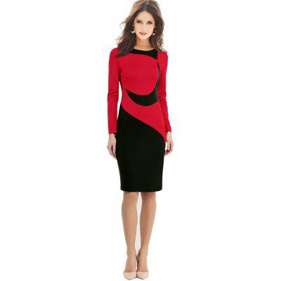Kenancy Vintage Sheat Kleid Langarm Hit Farbe Nähen Kleid Frauen Herbst Winter Pencil Dress Wear To Work