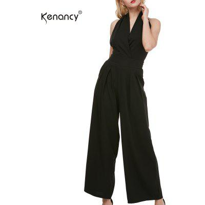 Buy Kenancy Sexy Elegant Wide Leg Jumpsuit Female Fashion Sleeveless Backless Sexy V-neck Style Casual Work Party Wear Rompers BLACK L for $24.20 in GearBest store